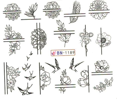 Köröm matrica No.1189 virágok, madarak vonal mintával